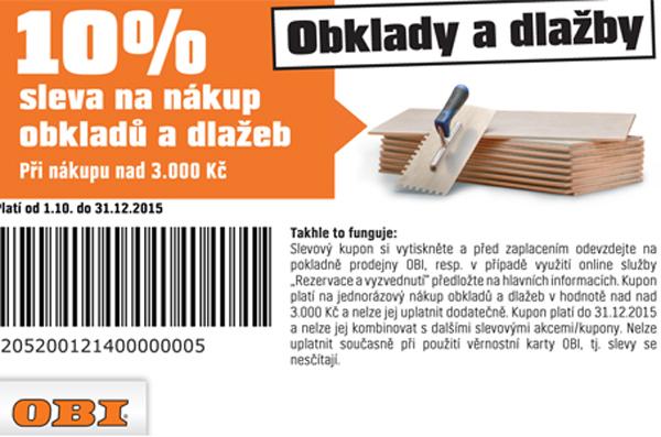 10 % sleva na nákup obkladů a dlažeb