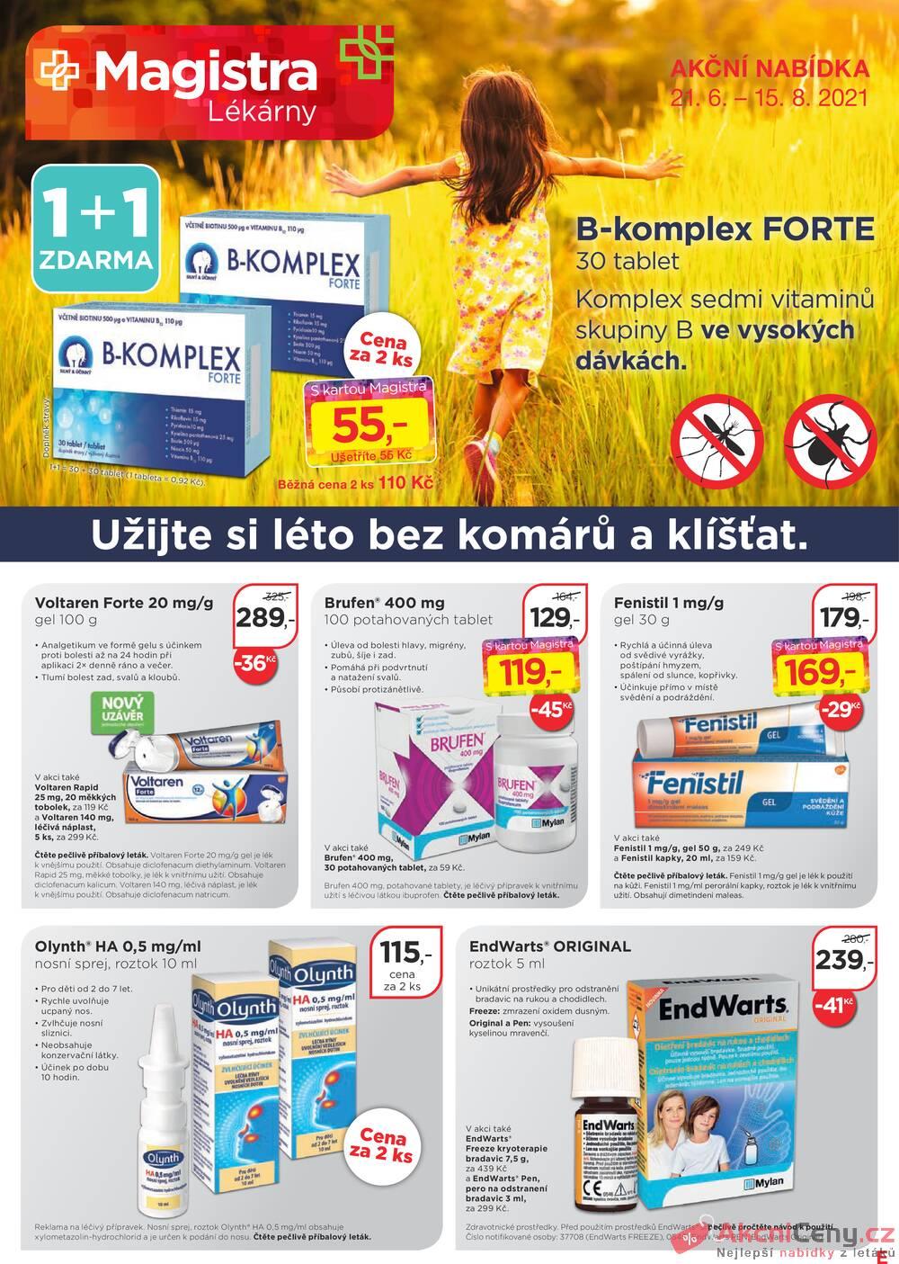 Leták Magistra lékárny - Magistra lékárny od 21.6. do 15.8.2021 - strana 1