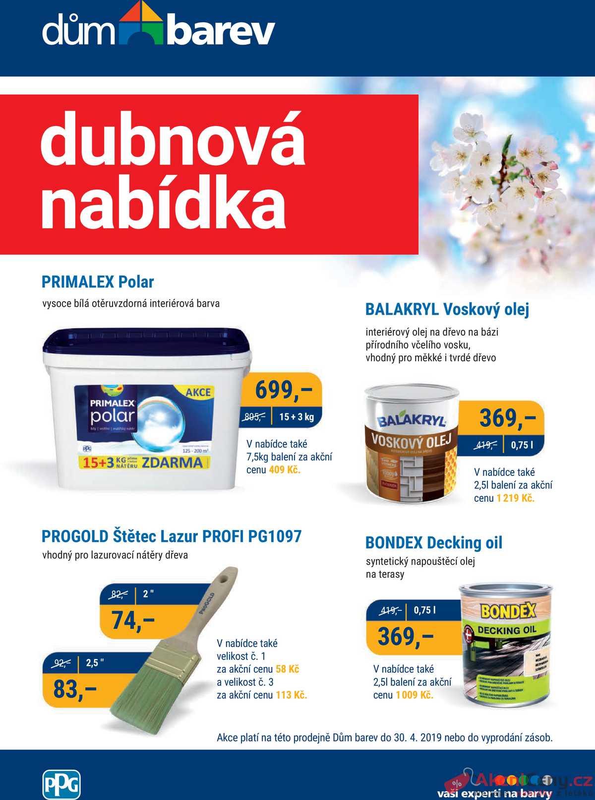 Leták Dům barev - Dům barev  od 1.4. do 30.4.2019 - strana 1