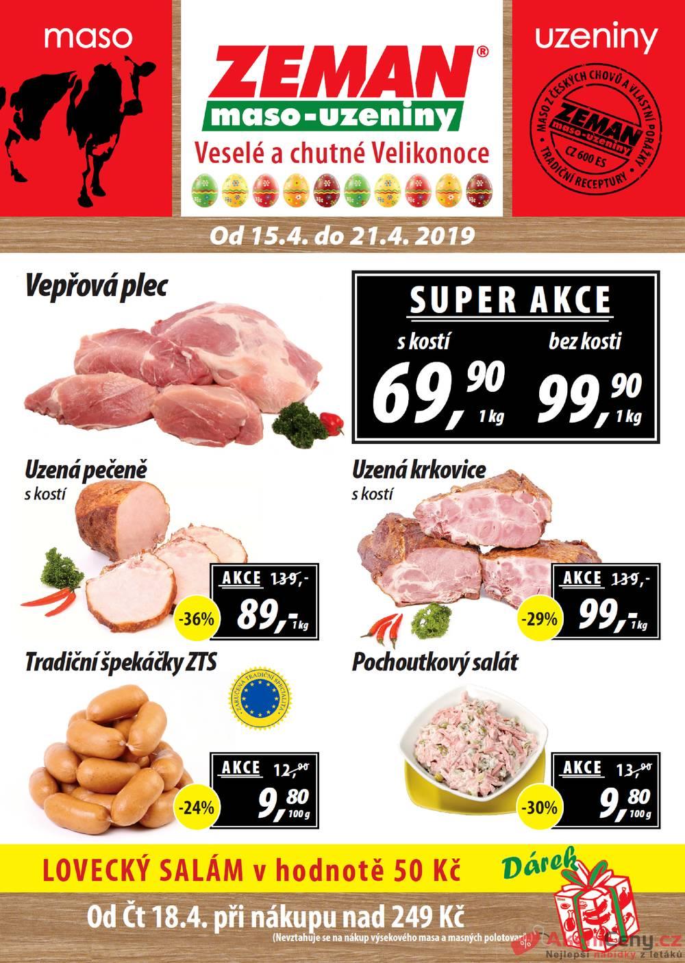 Leták ZEMAN maso-uzeniny - Zeman maso-uzeniny 15.4. - 21.4. první skupina - strana 1