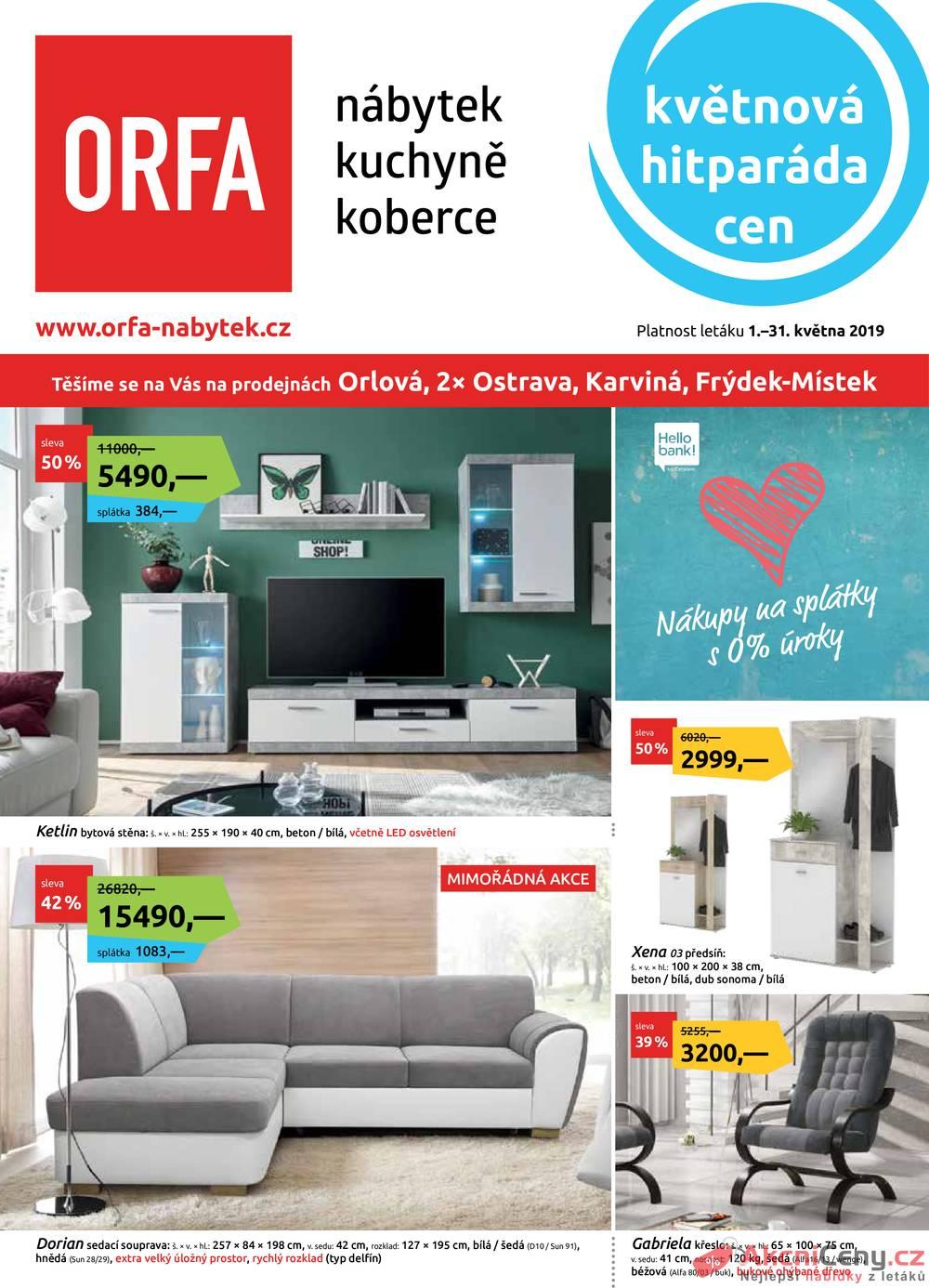 Leták Orfa Nábytek - Orfa Nábytek 1.5. - 31.5. - strana 1