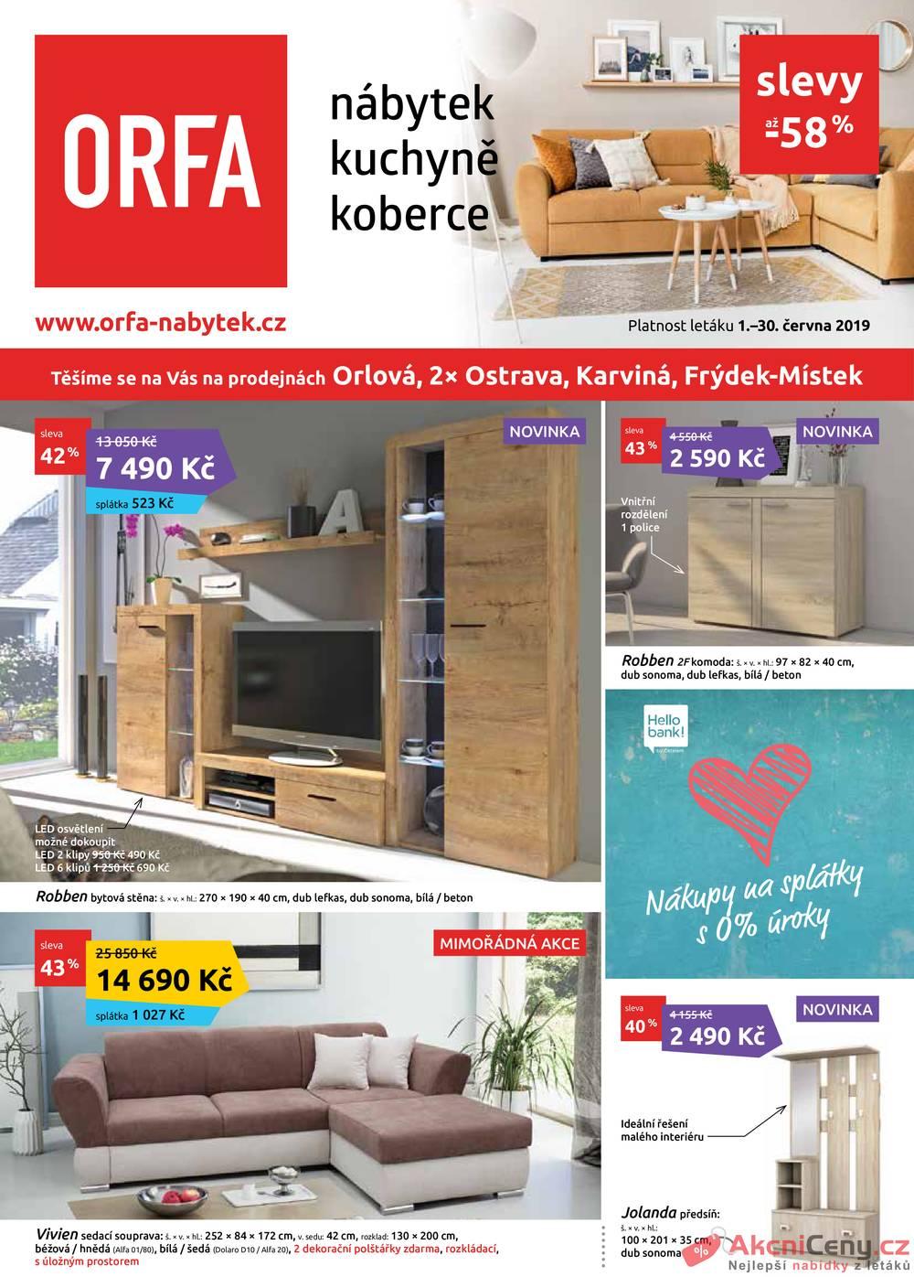 Leták Orfa Nábytek - Orfa Nábytek od 1.6. do 30.6.2019 - strana 1