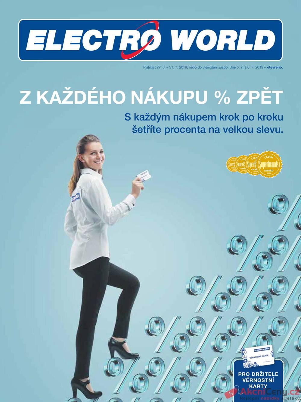 Leták Electro World - Electro World  od 27.6. do 31.7.2019 - strana 1