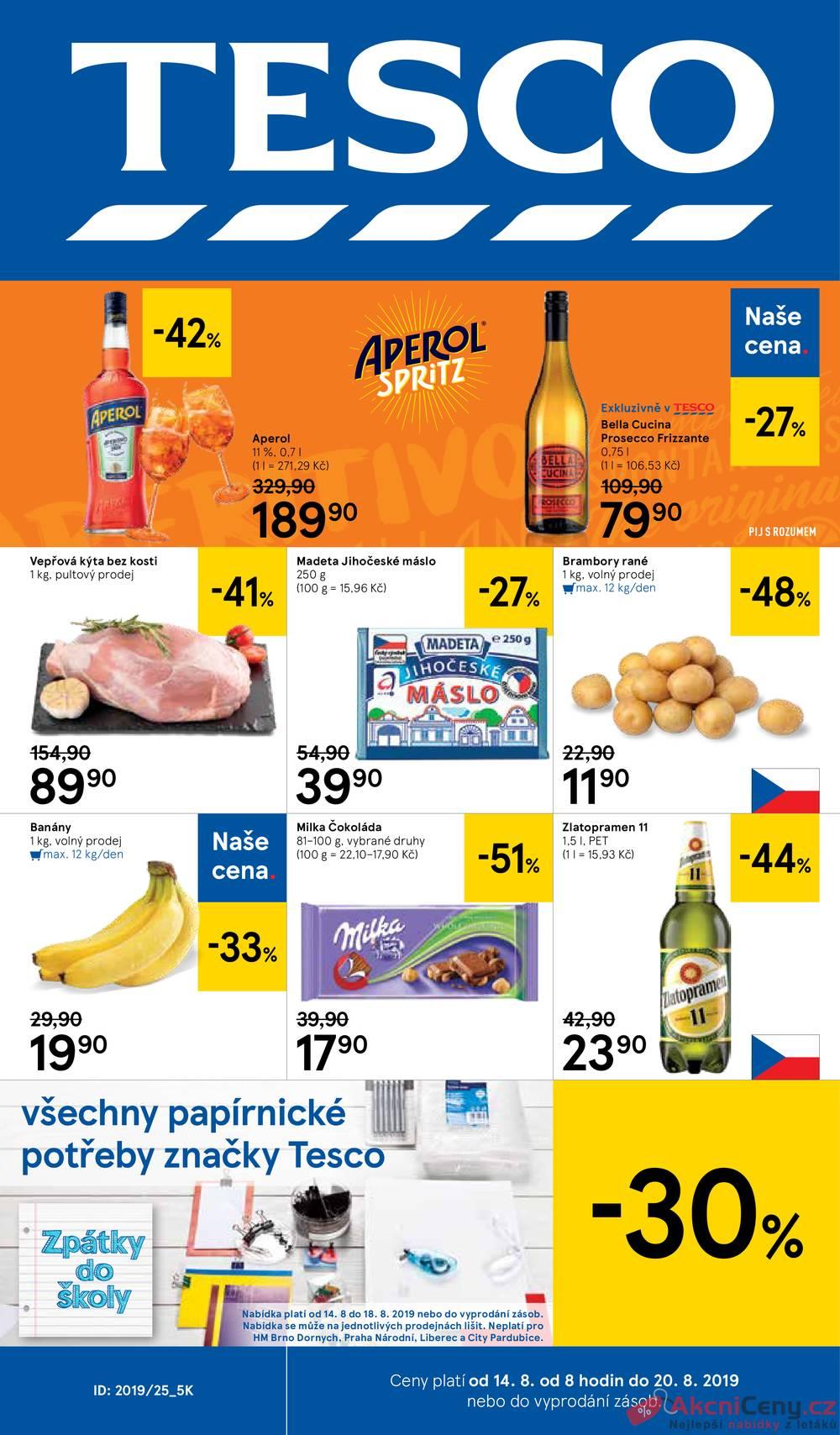 Leták Tesco - Tesco velké hypermarkety od 14.8. do 20.8.2019 - strana 1