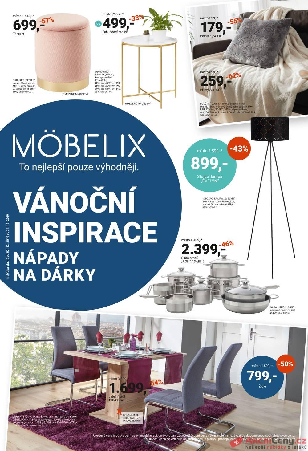 Leták Möbelix - Möbelix VÁNOČNÍ INSPIRACE od 2.12. do 31.12.2019 - strana 1