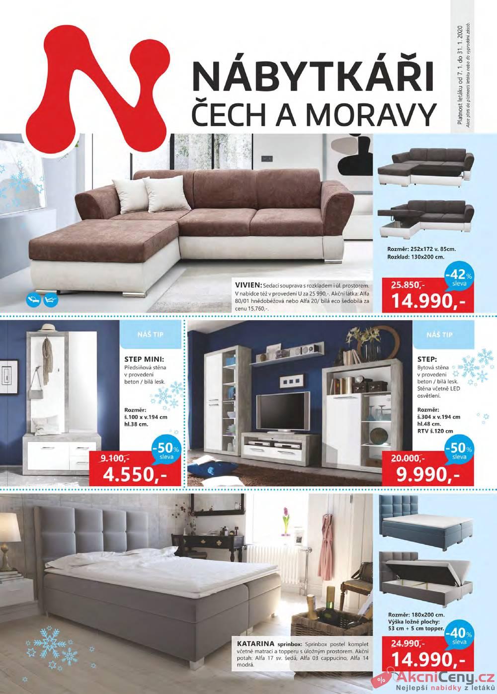 Leták Nábytkáři Čech a Moravy - Nábytkáři Čech a Moravy od 1.1. do 31.1.2020 - strana 1