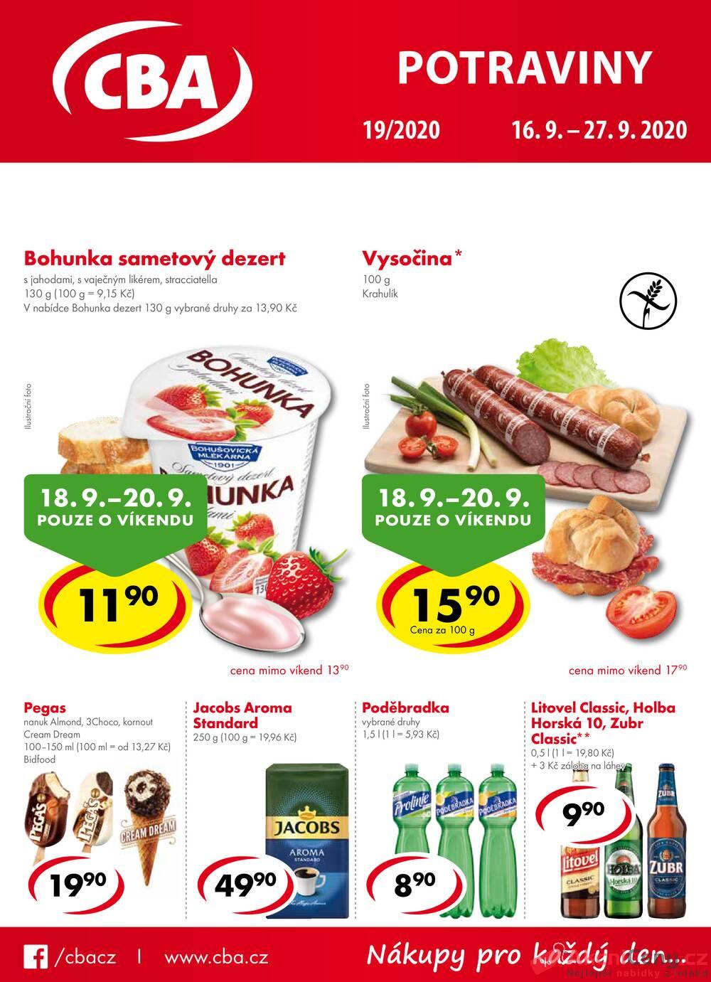 Leták CBA prodejní družstvo - CBA potraviny od 16.9. do 27.9.2020 - strana 1