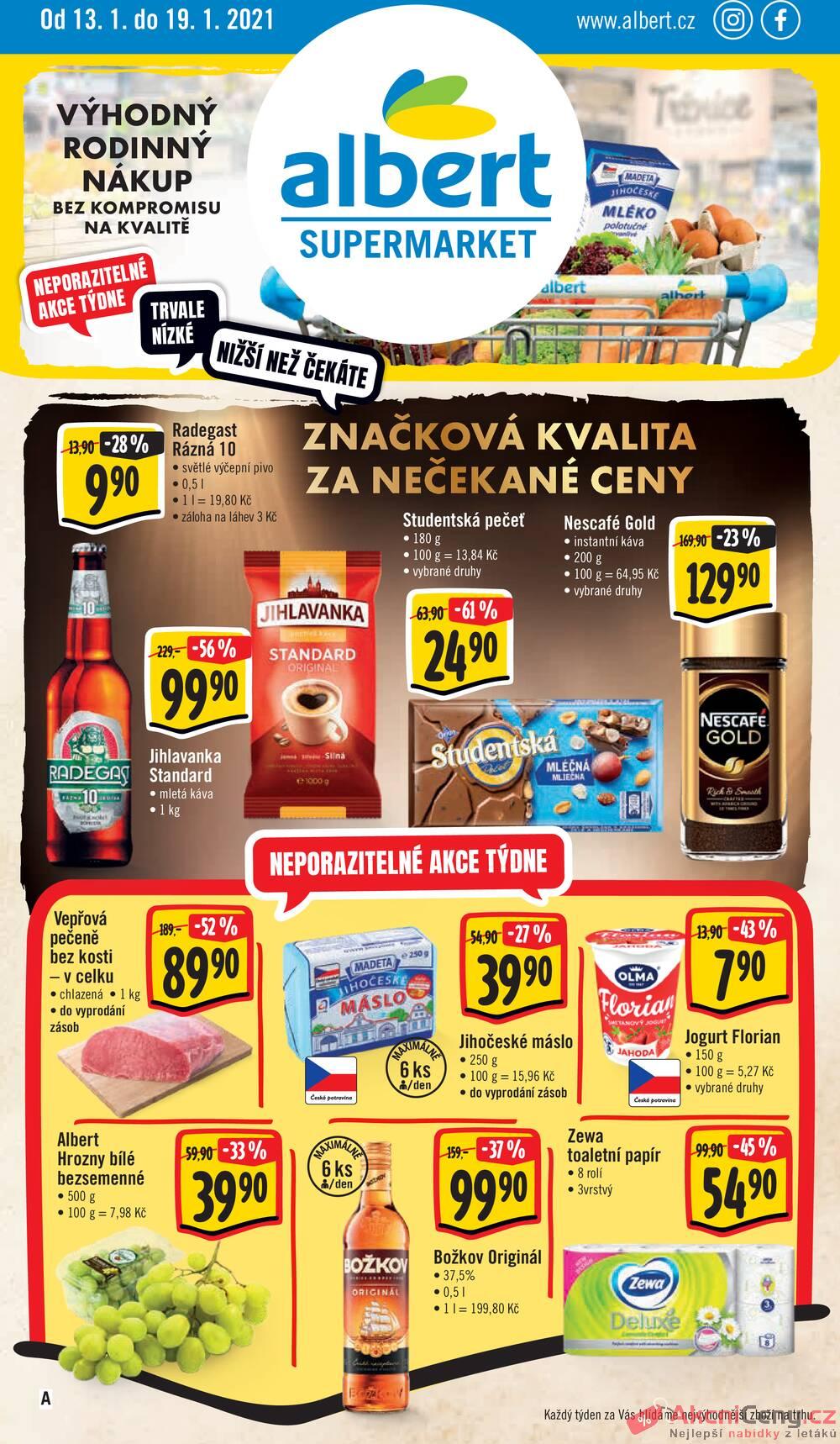 Leták Albert - Albert Supermarket od 13.1. do 19.1.2021 - strana 1