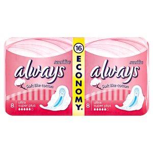 Always Sensitive Ultra super plus hygienické vložky 16 ks