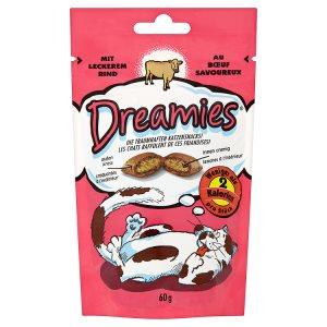 Dreamies Polštářky s hovězím masem doplňkové krmivo pro kočky a koťata 60g