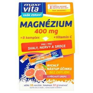 MaxiVita Vaše Zdraví Magnézium +B komplex + vitamin C s příchutí grepu 16 sáčků 32g