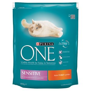 Purina ONE Sensitive s krůtím a rýží 800g