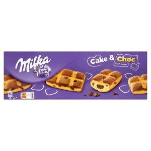 Milka Cake & choc jemné pečivo s kousky mléčné čokolády a čokoládovou náplní 175g