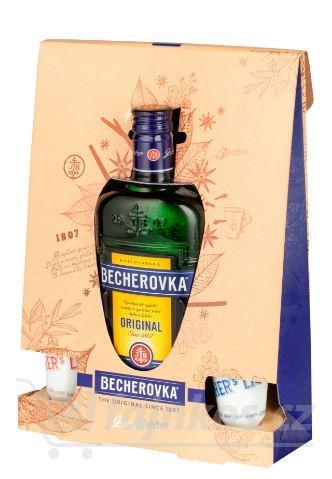 Becherovka Original Bylinný likér 0,5l s 2 porcelánovými kalíšky v akci