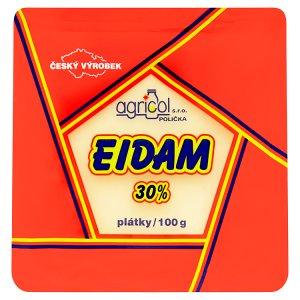 Agricol Eidam 30% polotvrdý sýr plátky 100g