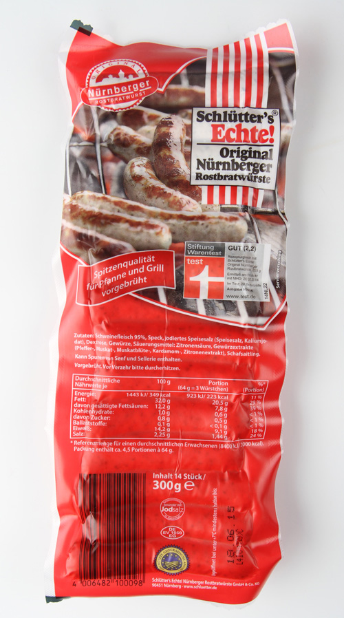Schlütter Echte Original 2,1 Nürnb. Rostbratwürste